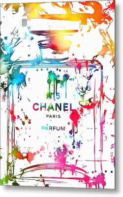 Chanel Number Five Paint Splatter Metal Print by Dan Sproul