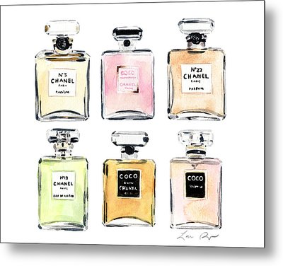 Chanel Perfumes Metal Print by Laura Row Studio