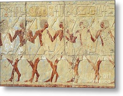 Chapel Of Hathor Hatshepsut Nubian Procession Soldiers - Digital Image -fine Art Print-ancient Egypt Metal Print by Urft Valley Art