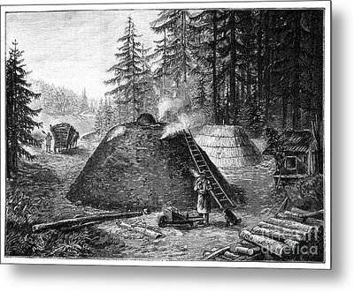 Charcoal Production, 19th Century Metal Print by Spl