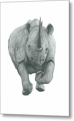 Charging Rhino Metal Print by Rich Colvin