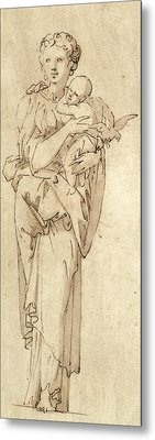 Charity Or The Virgin And Child Metal Print by Geoffroy Dumonstier