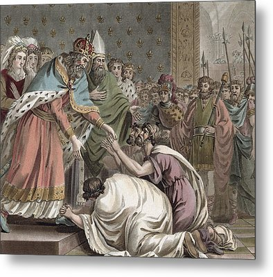Charlemagne Receives The Ambassadors Metal Print by Jean Claude Naigeon
