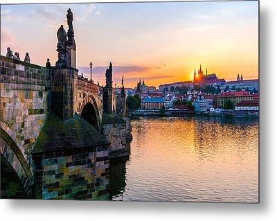 Charles Bridge And St. Vitus Cathedral In Prague Metal Print by Jim Hughes