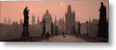 Charles Bridge At Dusk With The Church Metal Print by Panoramic Images