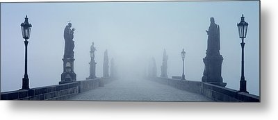 Charles Bridge In Fog Prague Czech Metal Print by Panoramic Images