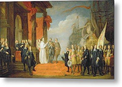 Charles V Leaving The Town Of Dort Metal Print by David the Elder Teniers