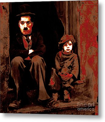 Charlie Chaplin 20130212-2-square Metal Print by Wingsdomain Art and Photography