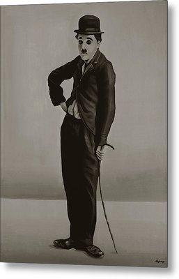 Charlie Chaplin Painting Metal Print by Paul Meijering