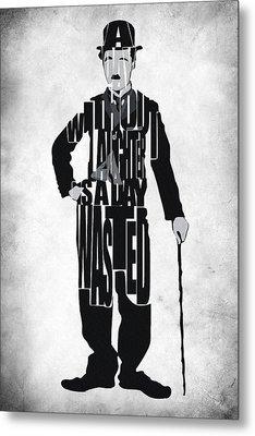 Charlie Chaplin Typography Poster Metal Print by Ayse Deniz