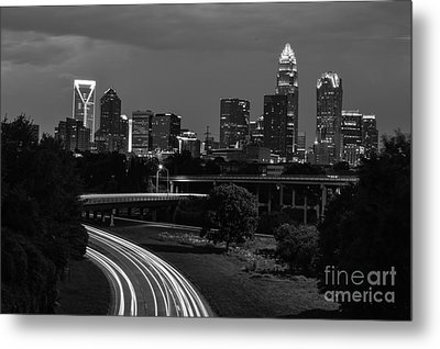 Charlotte Black And White Skyline Metal Print by Robert Loe