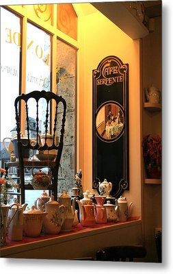 Chartres Cafe Metal Print by A Morddel