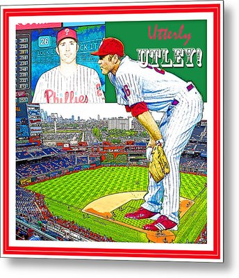Chase Utley Poster Utterly Utley Metal Print by A Gurmankin