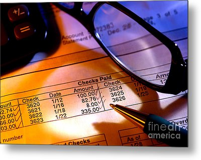 Checking Account Statement Metal Print by Olivier Le Queinec