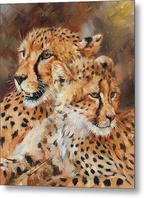 Cheetah And Cub Metal Print by David Stribbling