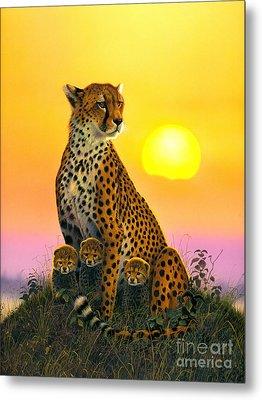 Cheetah And Cubs Metal Print by MGL Studio - Chris Hiett