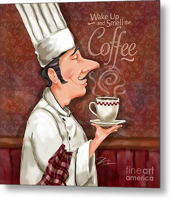 Chef Smell The Coffee Metal Print by Shari Warren