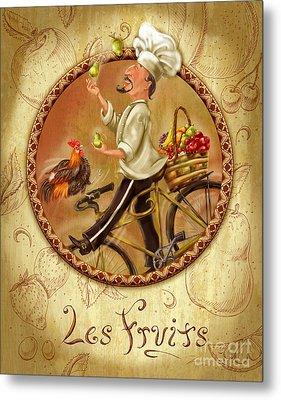 Chefs On Bikes-les Fruits Metal Print by Shari Warren