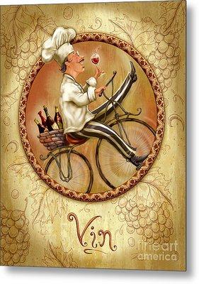 Chefs On Bikes-vin Metal Print by Shari Warren