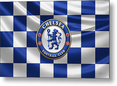 Chelsea Fc - 3d Badge Over Flag Metal Print by Serge Averbukh