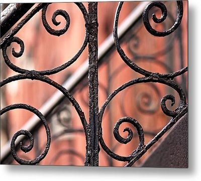 Chelsea Wrought Iron Abstract Metal Print by Rona Black