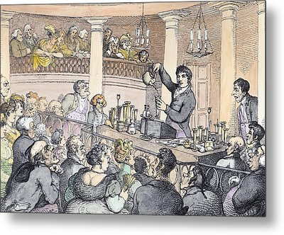 Chemical Lectures Metal Print by Thomas Rowlandson