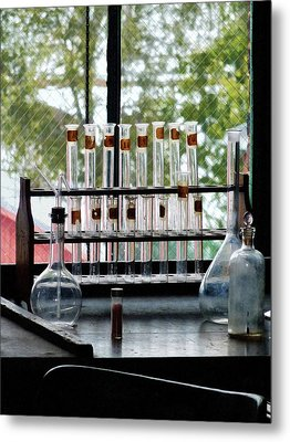 Chemist - Test Tubes By Window Metal Print by Susan Savad