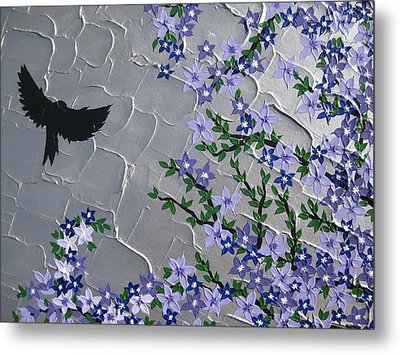 Cherry Blossom And Bird Metal Print by Cathy Jacobs