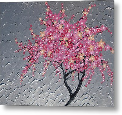 Cherry Blossom In Pink Metal Print by Cathy Jacobs