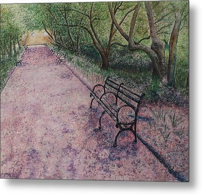 Cherry Blossom Pathway Metal Print by Patsy Sharpe
