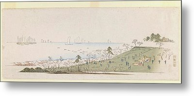 Cherry Blossom Time People Picknicking At Gotenyama 1843 Metal Print by MotionAge Designs