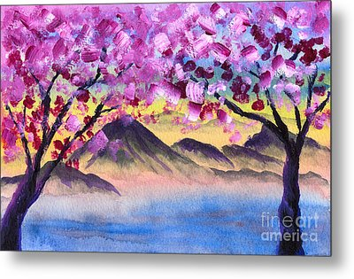 Cherry Blossom Trees By The Lake At Dusk Metal Print by Beverly Claire Kaiya