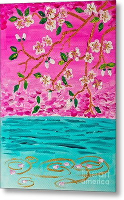 Cherry Blossoms Branch With Water Ripples Acrylic Painting Metal Print by Beverly Claire Kaiya