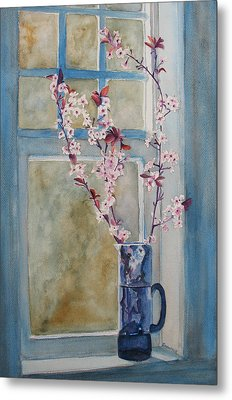 Cherry Blossoms In A Blue Pitcher Metal Print by Jenny Armitage