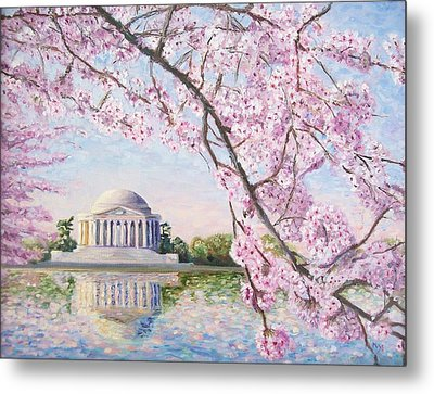 Jefferson Memorial Cherry Blossoms Metal Print by Patty Kay Hall