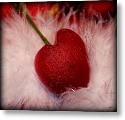 Cherry Heart Metal Print by Linda Sannuti