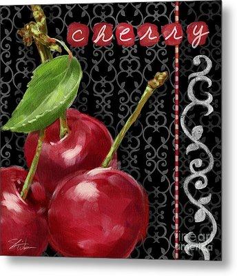Cherry On Black And White Metal Print by Shari Warren