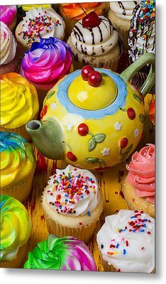 Cherry Teapot And Cupcakes Metal Print by Garry Gay
