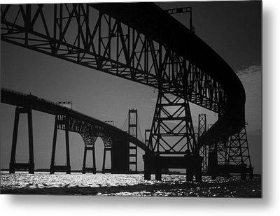 Chesapeake Bay Bridge At Annapolis Metal Print by Skip Willits