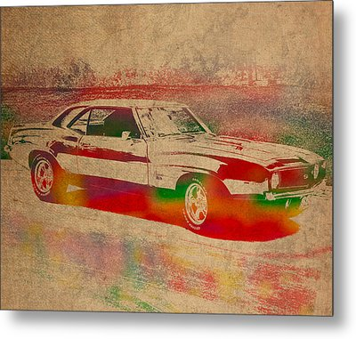 Chevrolet Camaro Watercolor Portrait On Worn Distressed Canvas Metal Print by Design Turnpike