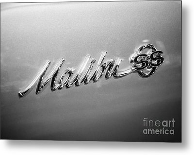 Chevrolet Malibu Ss Emblem Black And White Picture Metal Print by Paul Velgos
