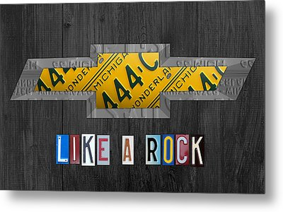 Chevrolet Vintage Logo License Plate Art Like A Rock On Wood Boards Metal Print by Design Turnpike