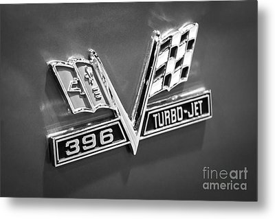 Chevy 396 Turbo-jet Emblem Black And White Picture Metal Print by Paul Velgos
