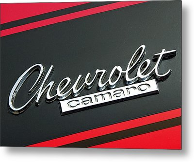 Chevy Camaro In Red Metal Print by Charlette Miller