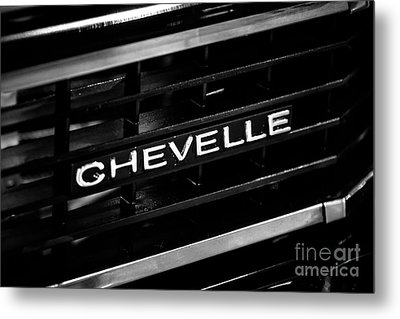 Chevy Chevelle Grill Emblem Black And White Picture Metal Print by Paul Velgos