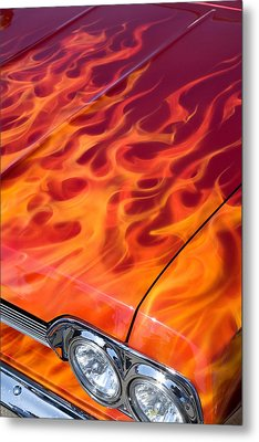 Chevy Flames Metal Print by Peter Tellone