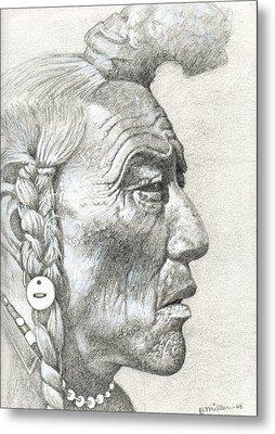 Cheyenne Medicine Man Metal Print by Bern Miller