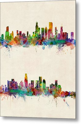 Chicago And Los Angeles Skylines Metal Print by Michael Tompsett