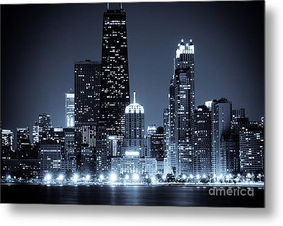 Chicago At Night With Hancock Building Metal Print by Paul Velgos