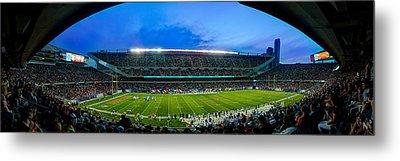 Chicago Bears At Soldier Field Metal Print by Steve Gadomski